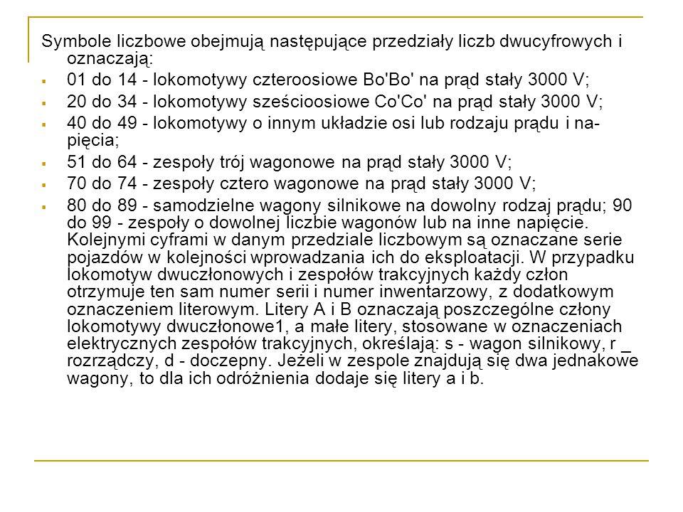 Symbole liczbowe obejmują następujące przedziały liczb dwucyfrowych i oznaczają: