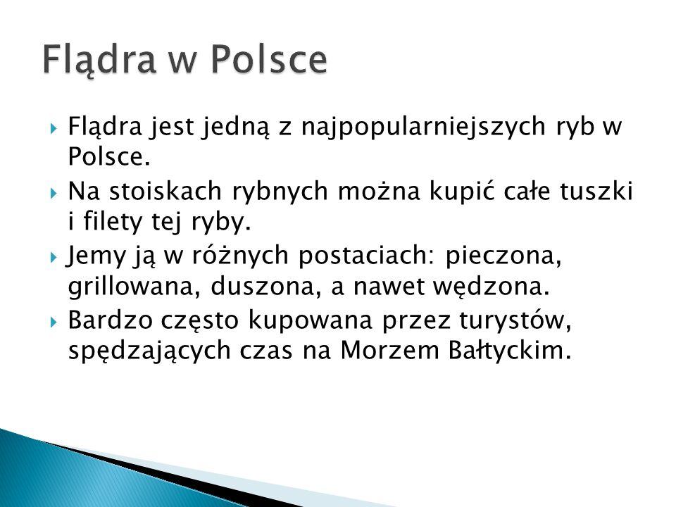 Flądra w Polsce Flądra jest jedną z najpopularniejszych ryb w Polsce.