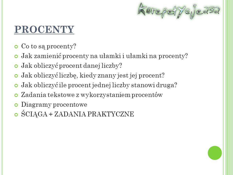 PROCENTY Co to są procenty