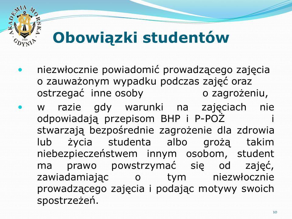 Obowiązki studentów