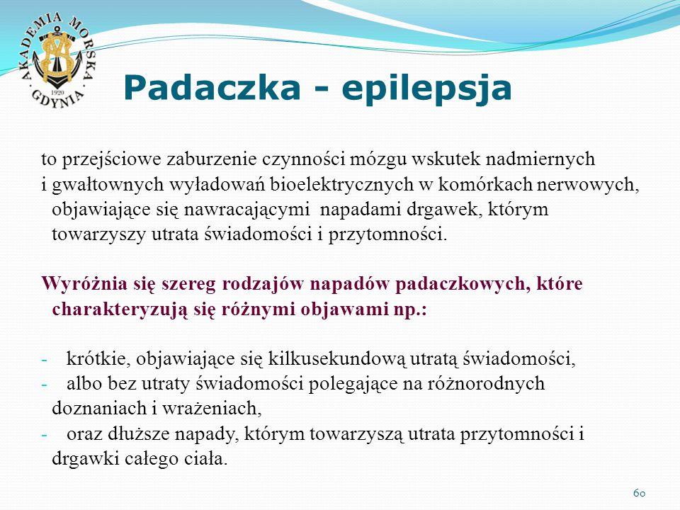 Padaczka - epilepsja to przejściowe zaburzenie czynności mózgu wskutek nadmiernych.
