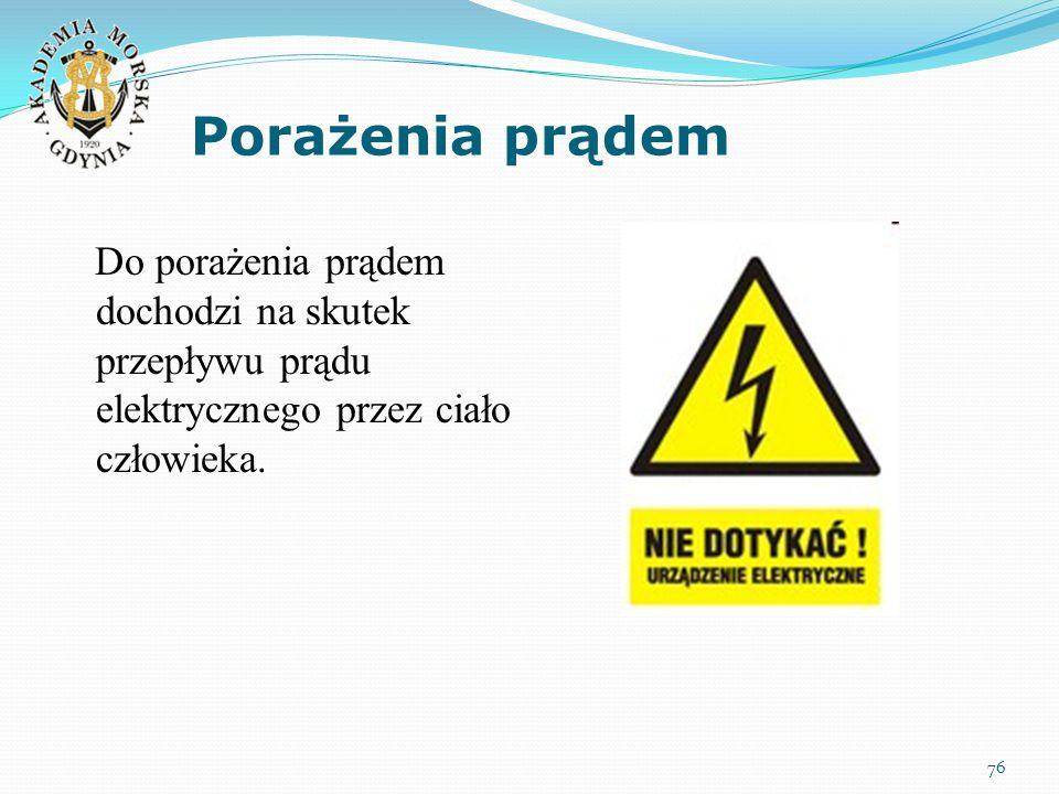 Porażenia prądem Do porażenia prądem dochodzi na skutek przepływu prądu elektrycznego przez ciało człowieka.