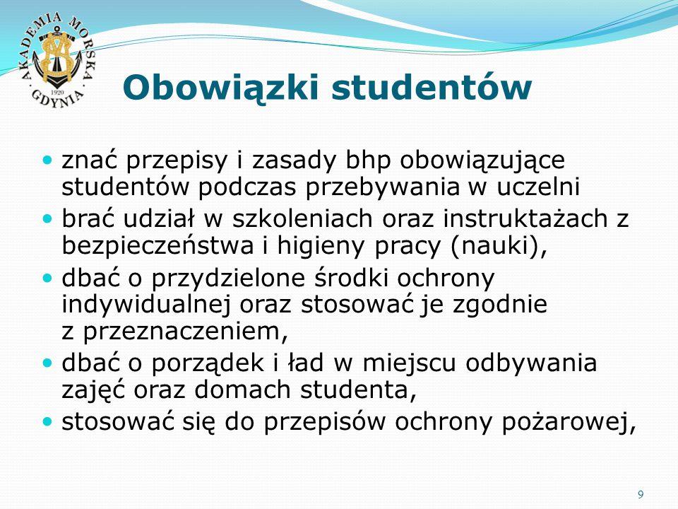 Obowiązki studentów znać przepisy i zasady bhp obowiązujące studentów podczas przebywania w uczelni.