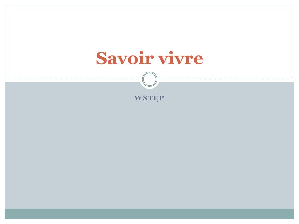 Savoir vivre Wstęp