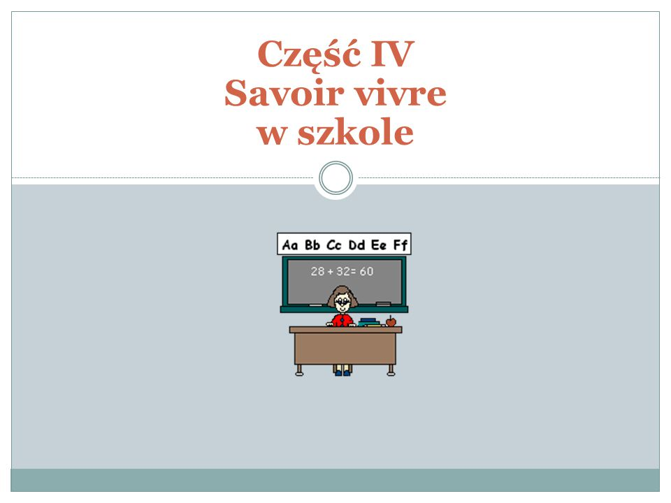 Część IV Savoir vivre w szkole