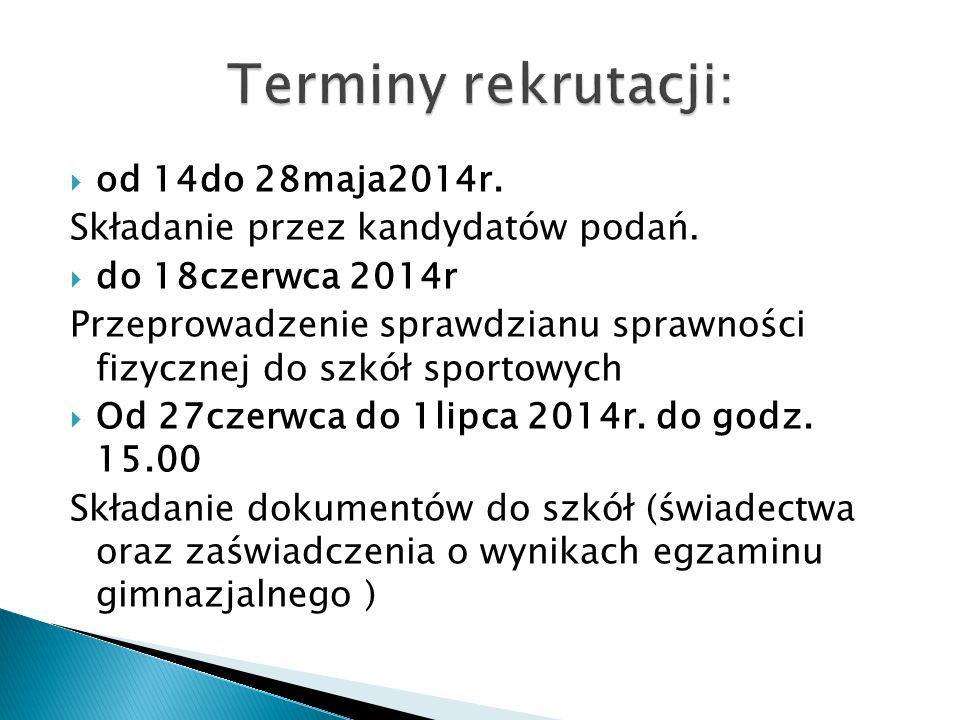 Terminy rekrutacji: od 14do 28maja2014r.