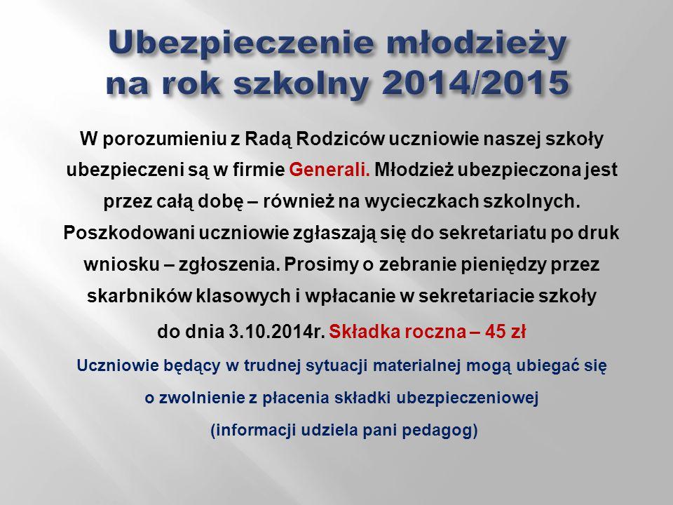 Ubezpieczenie młodzieży na rok szkolny 2014/2015