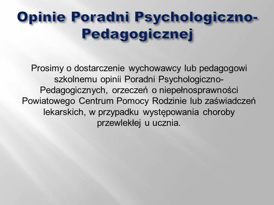 Opinie Poradni Psychologiczno-Pedagogicznej