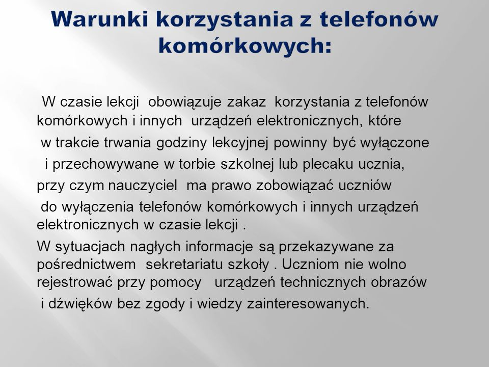 Warunki korzystania z telefonów komórkowych: