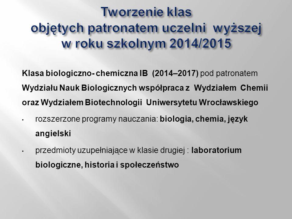 Tworzenie klas objętych patronatem uczelni wyższej w roku szkolnym 2014/2015