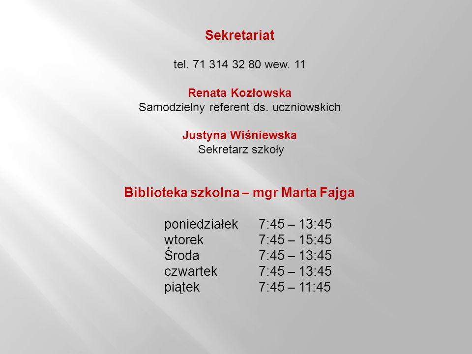 Biblioteka szkolna – mgr Marta Fajga