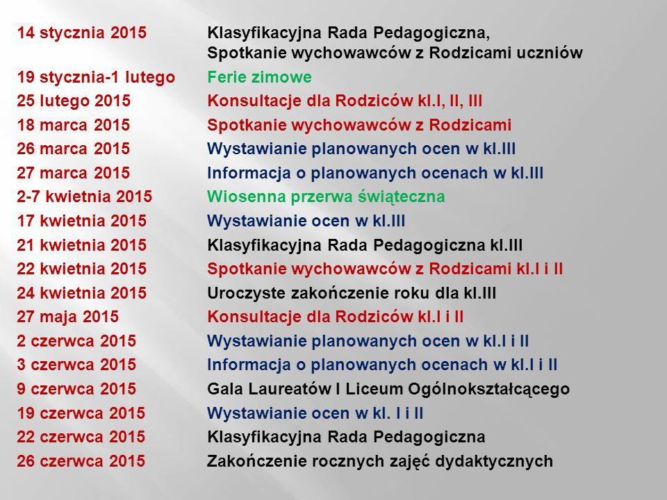 14 stycznia 2015. Klasyfikacyjna Rada Pedagogiczna,