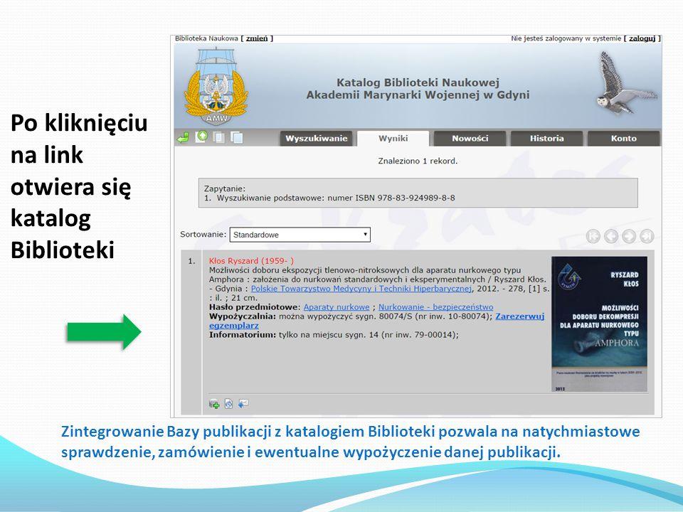 Po kliknięciu na link otwiera się katalog Biblioteki
