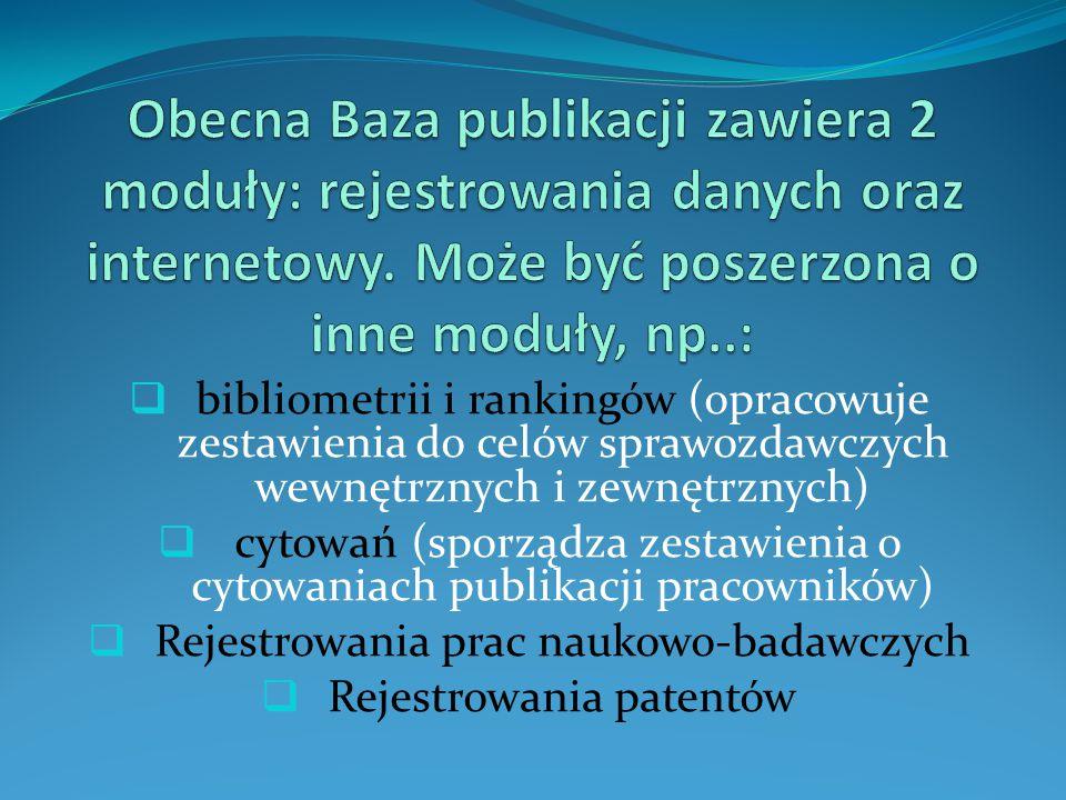 Obecna Baza publikacji zawiera 2 moduły: rejestrowania danych oraz internetowy. Może być poszerzona o inne moduły, np..: