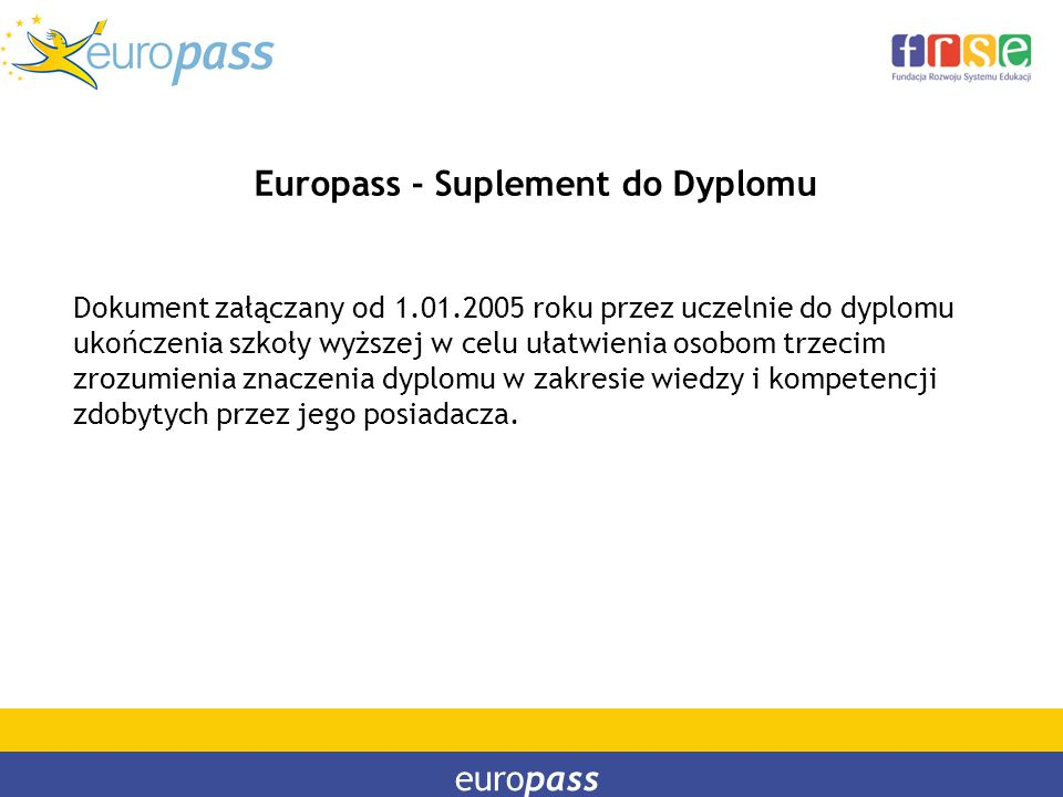 Europass - Suplement do Dyplomu