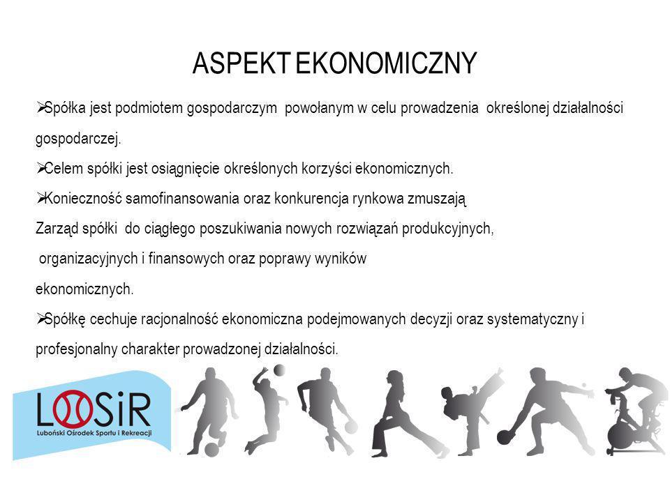 ASPEKT EKONOMICZNY Spółka jest podmiotem gospodarczym powołanym w celu prowadzenia określonej działalności gospodarczej.