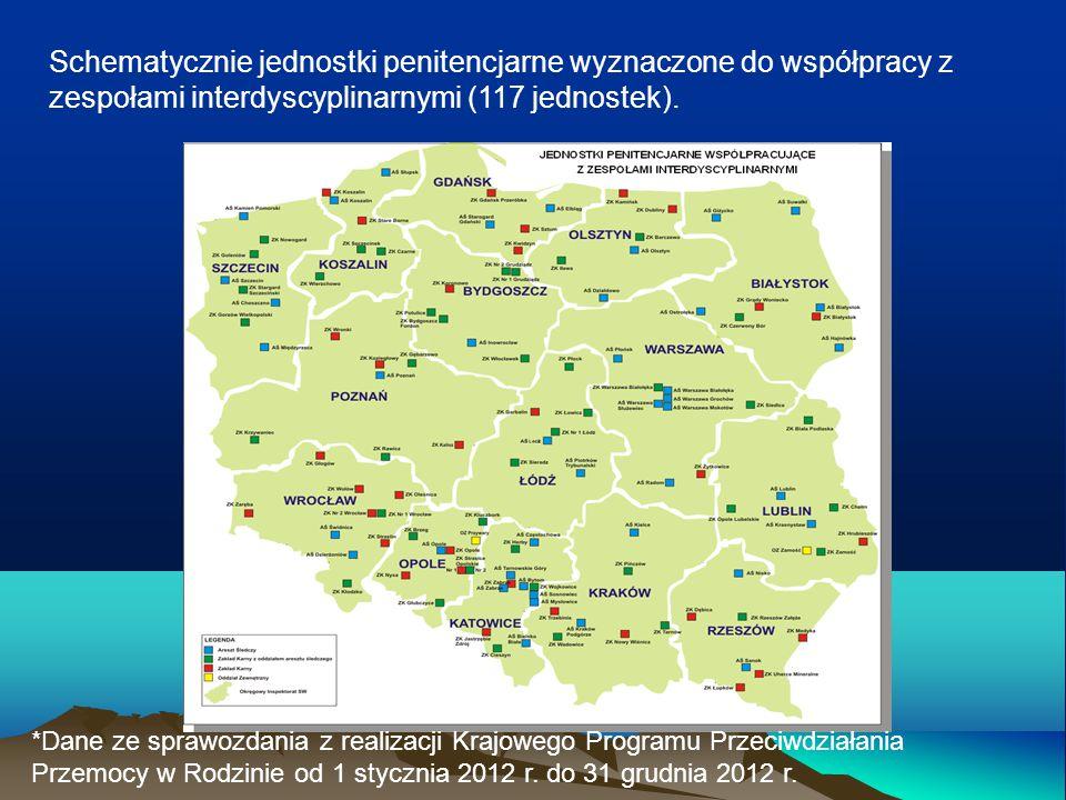 Schematycznie jednostki penitencjarne wyznaczone do współpracy z zespołami interdyscyplinarnymi (117 jednostek).