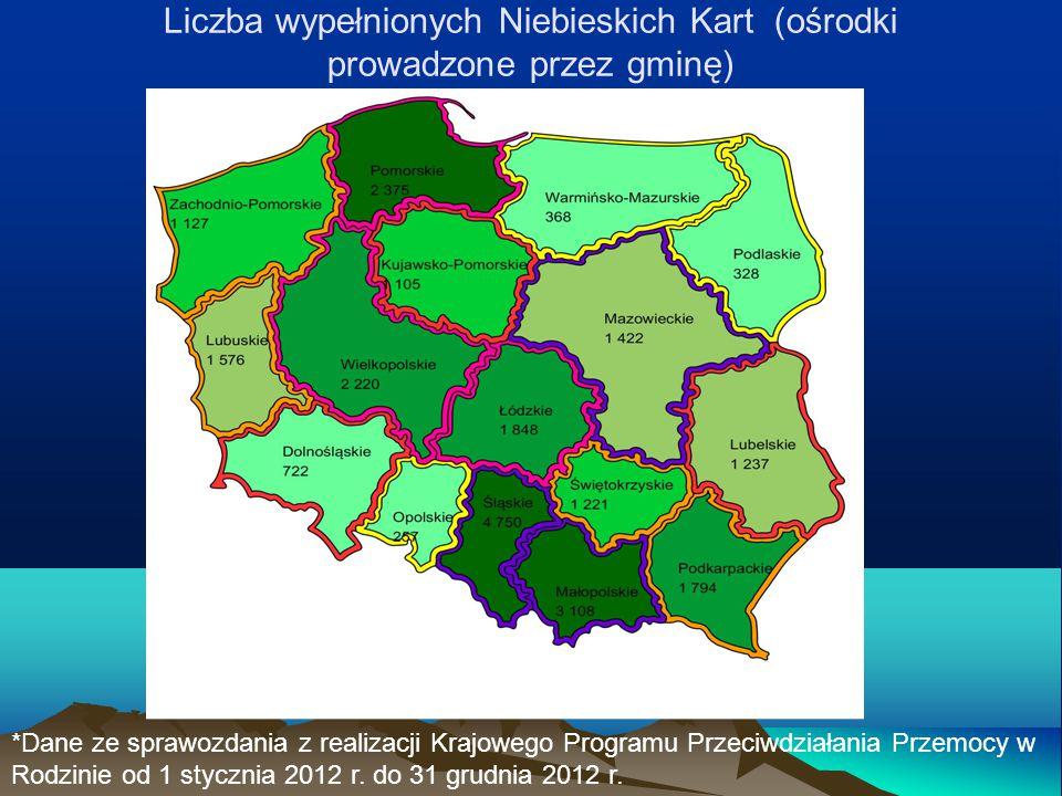 Liczba wypełnionych Niebieskich Kart (ośrodki prowadzone przez gminę)