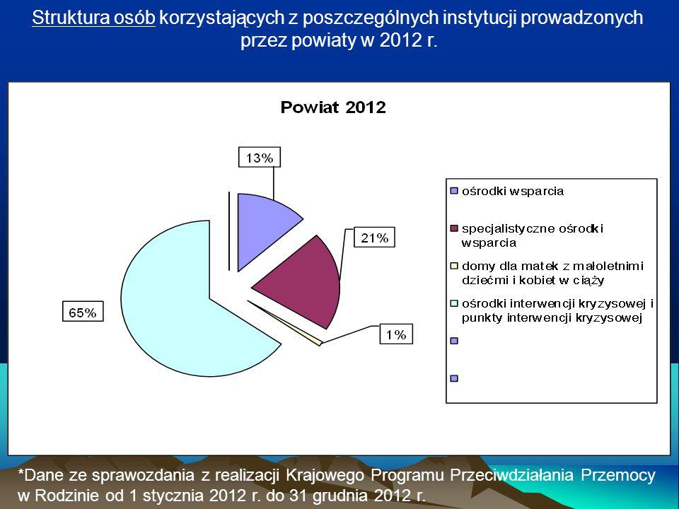 Struktura osób korzystających z poszczególnych instytucji prowadzonych
