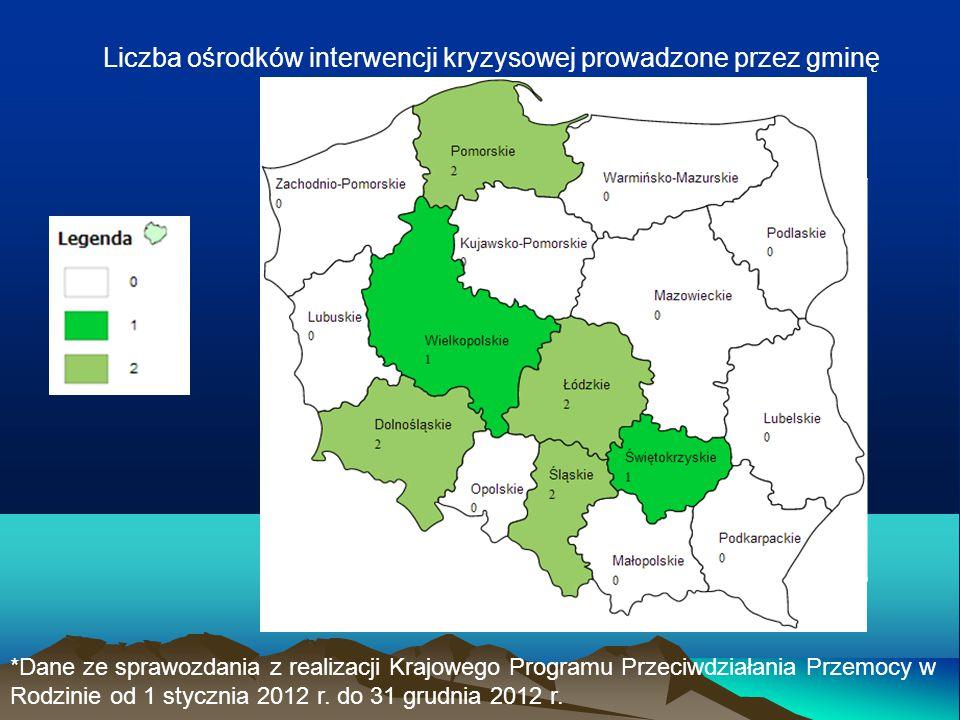 Liczba ośrodków interwencji kryzysowej prowadzone przez gminę