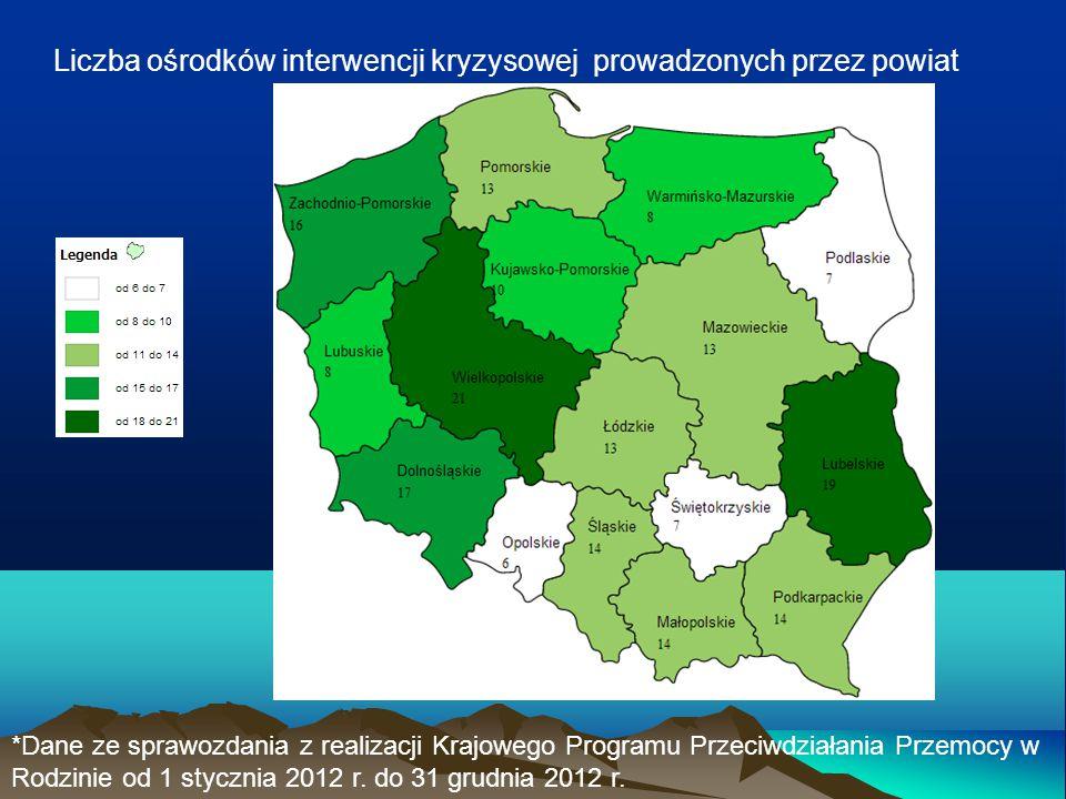 Liczba ośrodków interwencji kryzysowej prowadzonych przez powiat