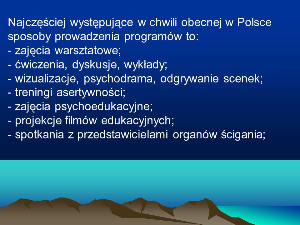 Najczęściej występujące w chwili obecnej w Polsce sposoby prowadzenia programów to: