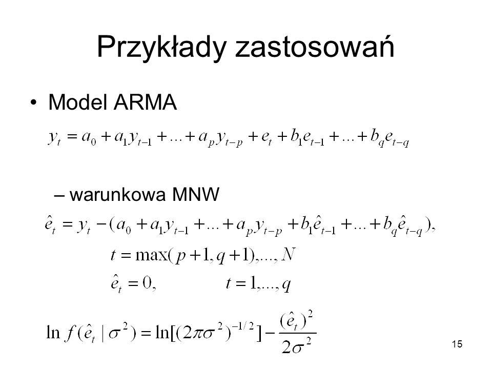 Przykłady zastosowań Model ARMA warunkowa MNW