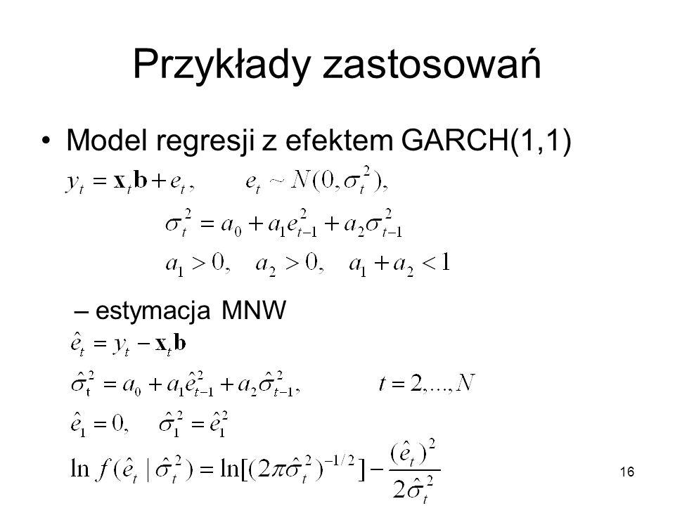 Przykłady zastosowań Model regresji z efektem GARCH(1,1) estymacja MNW