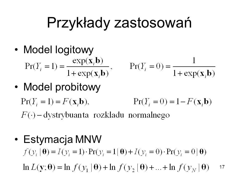 Przykłady zastosowań Model logitowy Model probitowy Estymacja MNW