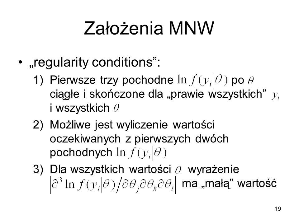 """Założenia MNW """"regularity conditions :"""