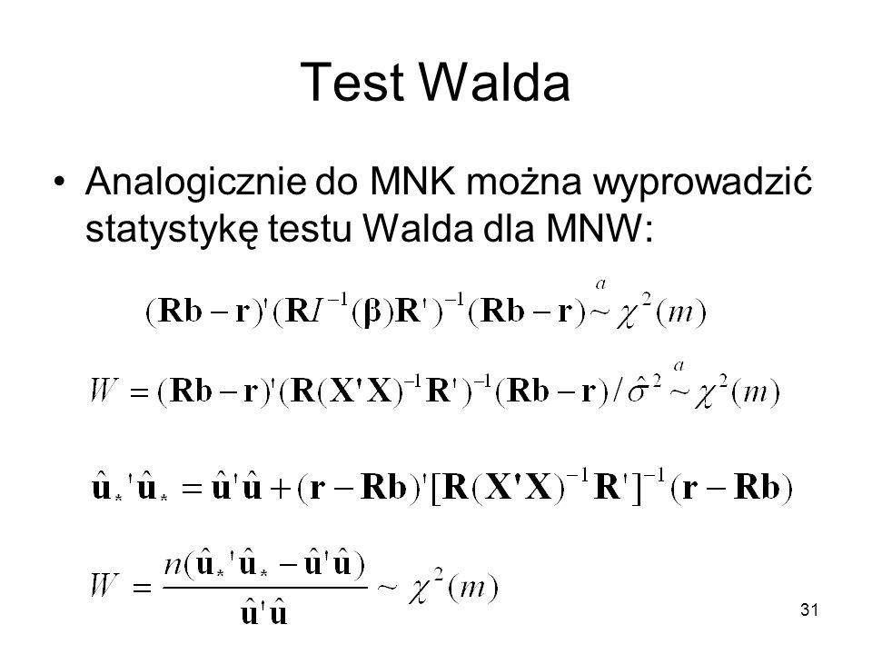 Test Walda Analogicznie do MNK można wyprowadzić statystykę testu Walda dla MNW: