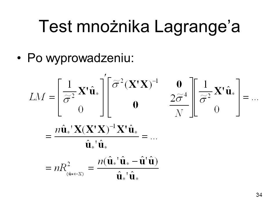 Test mnożnika Lagrange'a