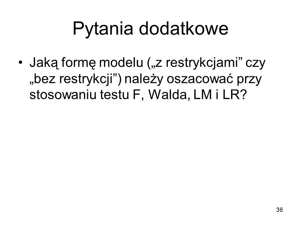 """Pytania dodatkowe Jaką formę modelu (""""z restrykcjami czy """"bez restrykcji ) należy oszacować przy stosowaniu testu F, Walda, LM i LR"""