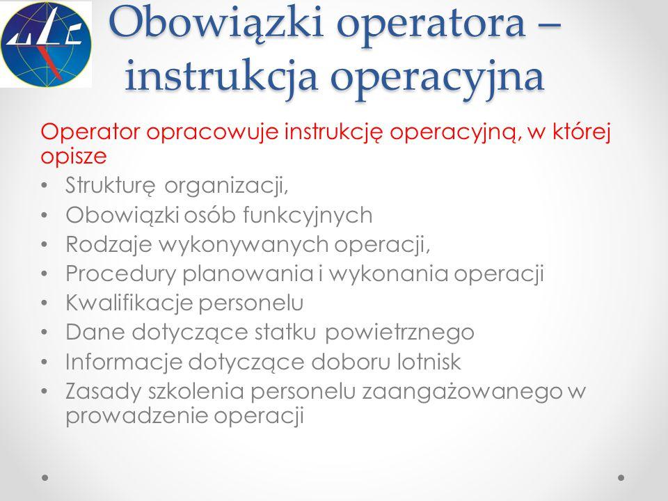 Obowiązki operatora – instrukcja operacyjna