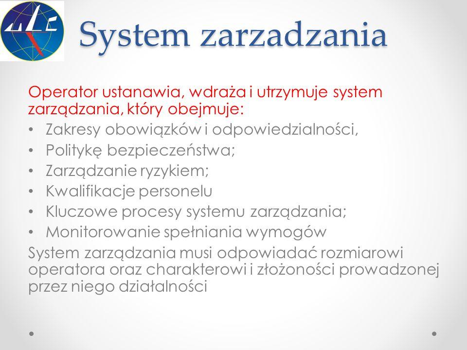 System zarzadzania Operator ustanawia, wdraża i utrzymuje system zarządzania, który obejmuje: Zakresy obowiązków i odpowiedzialności,