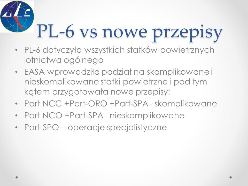 PL-6 vs nowe przepisy PL-6 dotyczyło wszystkich statków powietrznych lotnictwa ogólnego.