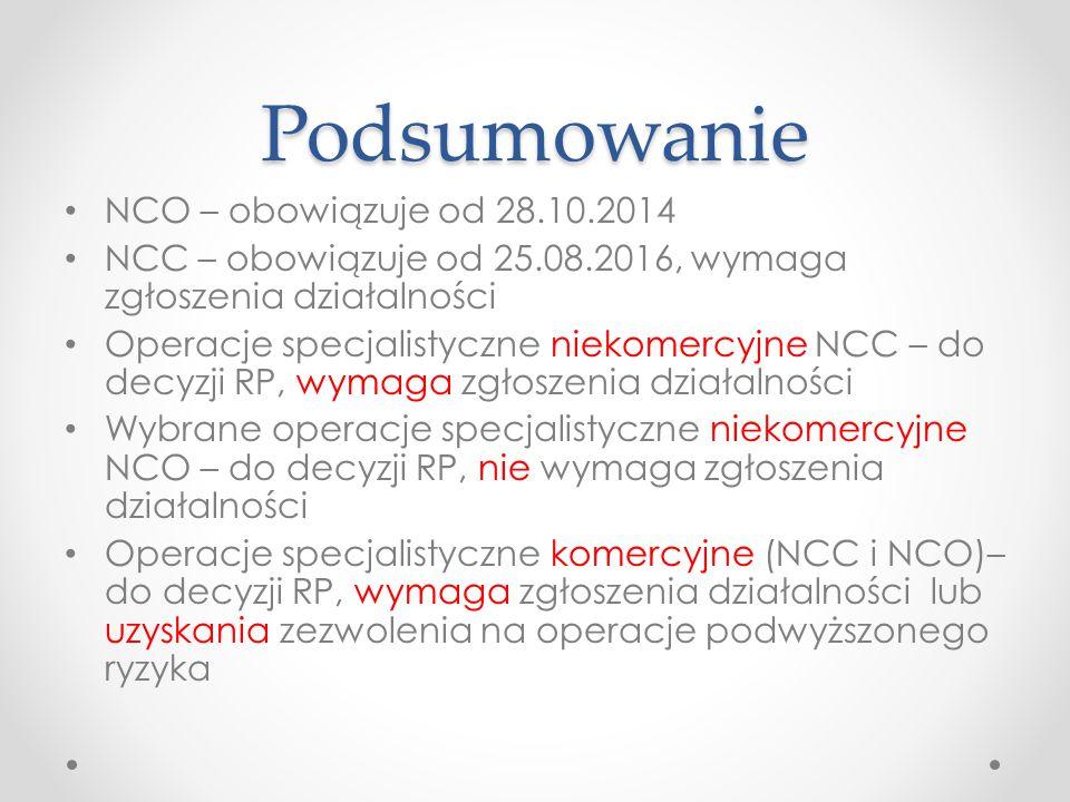 Podsumowanie NCO – obowiązuje od 28.10.2014