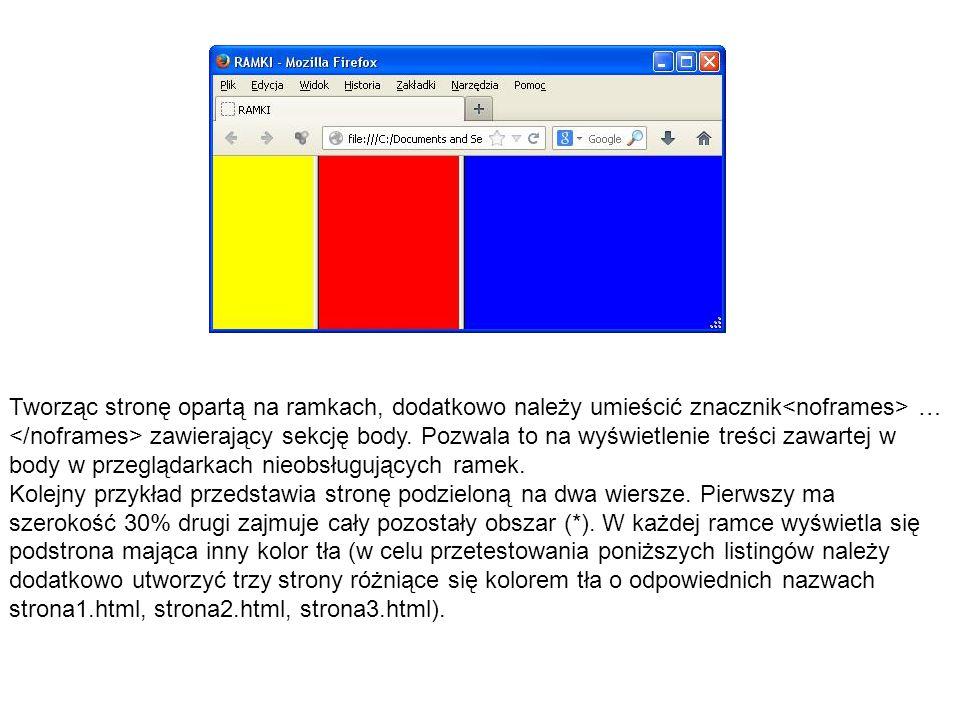 Tworząc stronę opartą na ramkach, dodatkowo należy umieścić znacznik<noframes> … </noframes> zawierający sekcję body. Pozwala to na wyświetlenie treści zawartej w body w przeglądarkach nieobsługujących ramek.