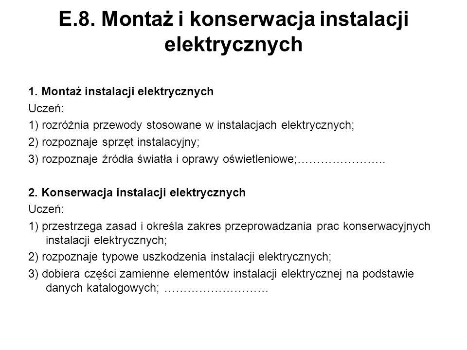 E.8. Montaż i konserwacja instalacji elektrycznych