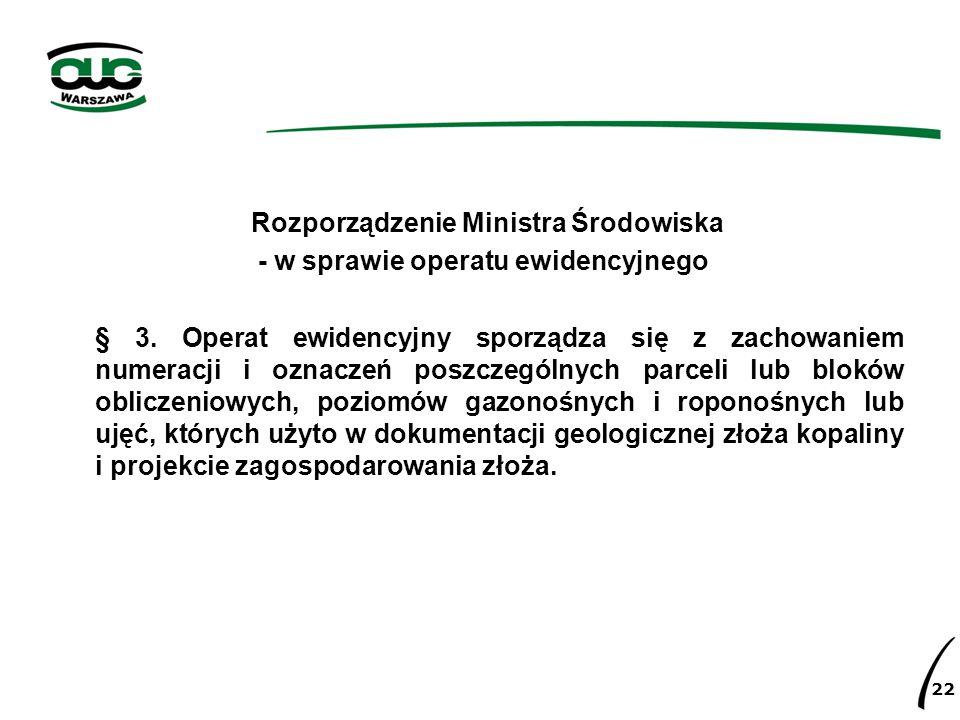 Rozporządzenie Ministra Środowiska - w sprawie operatu ewidencyjnego