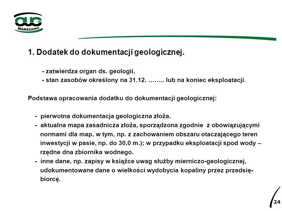 1. Dodatek do dokumentacji geologicznej.
