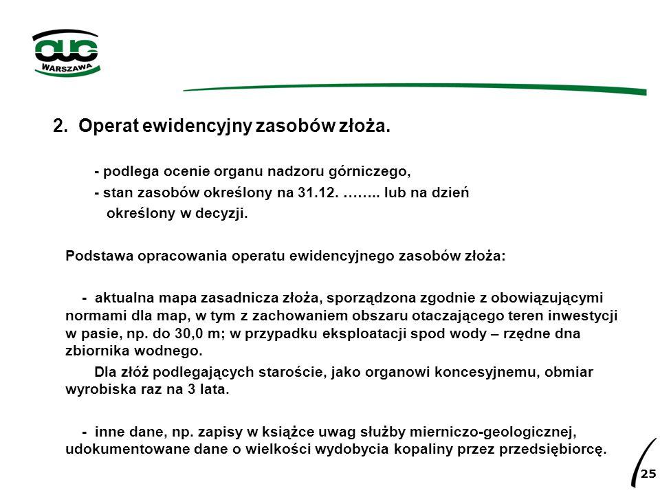 2. Operat ewidencyjny zasobów złoża.