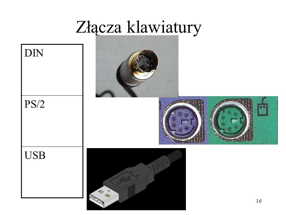 Złącza klawiatury DIN PS/2 USB