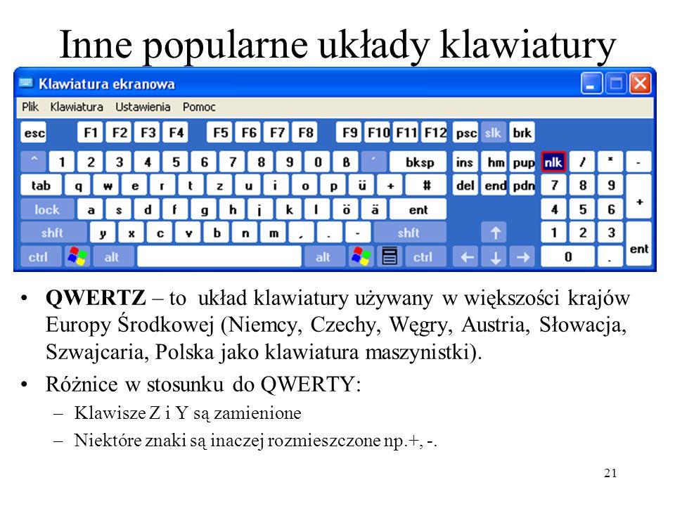 Inne popularne układy klawiatury