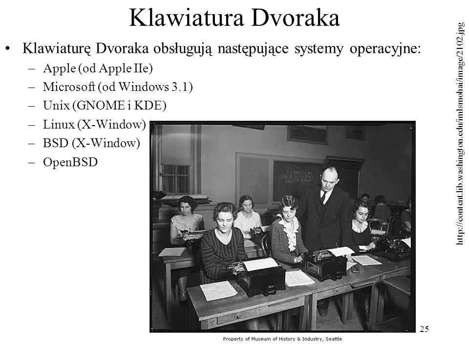Klawiatura Dvoraka Klawiaturę Dvoraka obsługują następujące systemy operacyjne: Apple (od Apple IIe)
