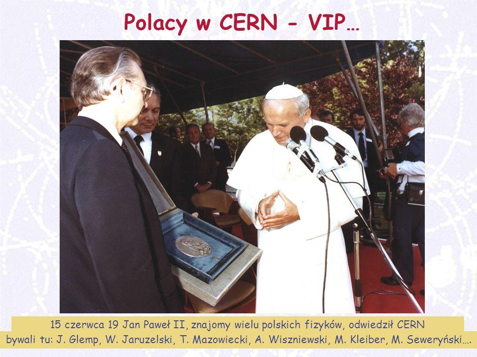 Polacy w CERN - VIP… 15 czerwca 19 Jan Paweł II, znajomy wielu polskich fizyków, odwiedził CERN.