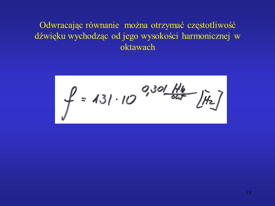 Odwracając równanie można otrzymać częstotliwość dźwięku wychodząc od jego wysokości harmonicznej w oktawach