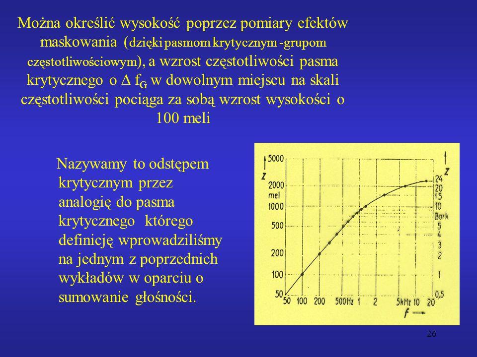 Można określić wysokość poprzez pomiary efektów maskowania (dzięki pasmom krytycznym -grupom częstotliwościowym), a wzrost częstotliwości pasma krytycznego o D fG w dowolnym miejscu na skali częstotliwości pociąga za sobą wzrost wysokości o 100 meli