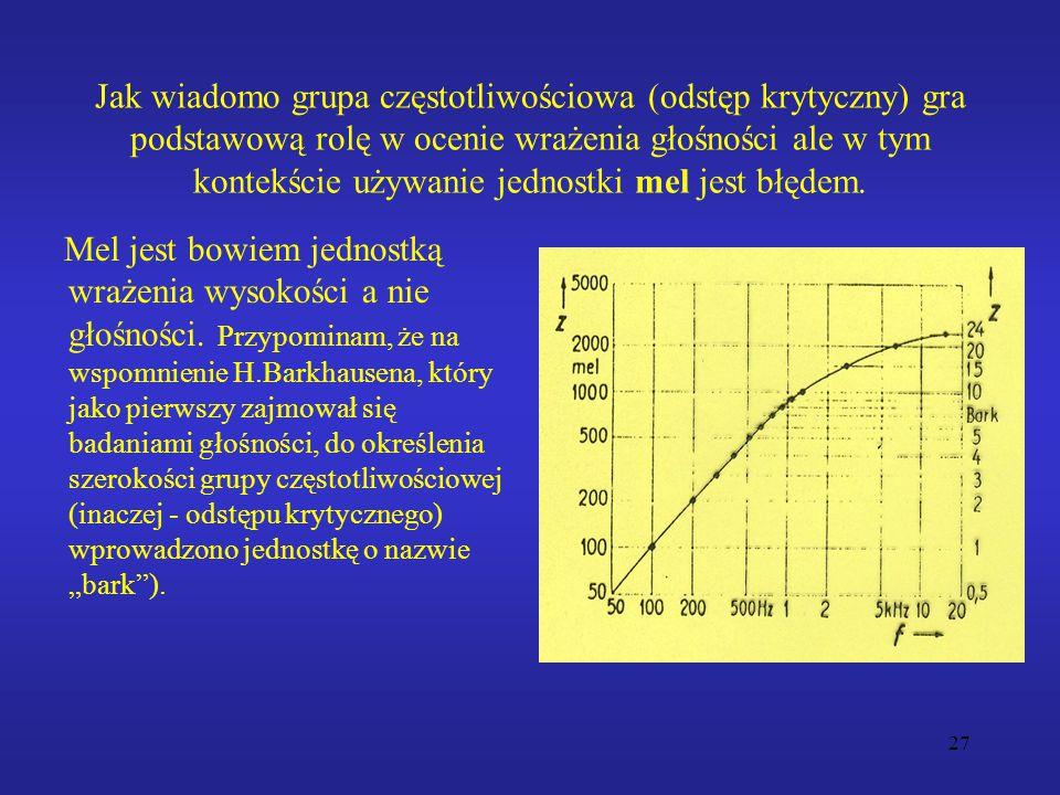 Jak wiadomo grupa częstotliwościowa (odstęp krytyczny) gra podstawową rolę w ocenie wrażenia głośności ale w tym kontekście używanie jednostki mel jest błędem.