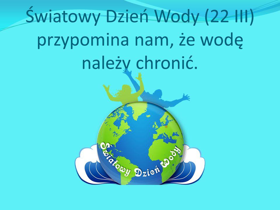 Światowy Dzień Wody (22 III) przypomina nam, że wodę należy chronić.